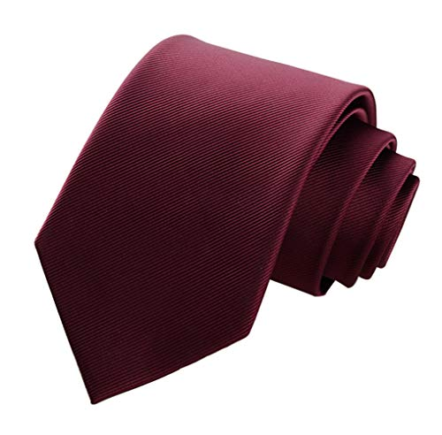 Men's Classic Checks Light Blue Jacquard Woven Silk Tie Necktie + Gift Box (Burgundy)