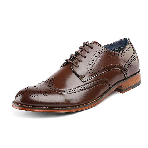 (Bruno Marc Men's Paul_1 Dark Brown Classic Brogue Wing Tip Lace Up Soft Round Toe Oxfords Dress Shoes Size 13 M US)