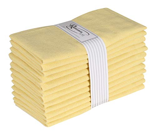 Cotton Dinner Napkins 12 Pack (18x18 Inches) Yellow, 100% Cotton, Tailored with Mitered Corners and a Generous 1