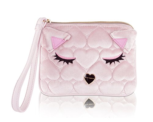 Betsey Johnson Sleeping Kitty Velvet Quilted Wristlet Pouch - Blush