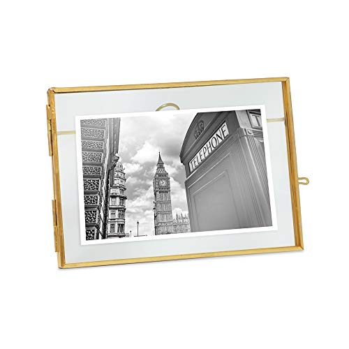 - Isaac Jacobs 5x7, Antique Gold, Vintage Style Brass and Glass, Metal Floating Desk Photo Frame (Horizontal), with Locket Closure for Pictures, Art, More