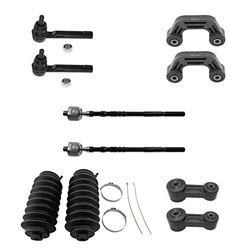 Detroit Axle - 12PC Front Lower Ball Joint, Front and Rear Sway Bar, Front Inner Outer Tie Rod End w/Steering Rack Boot Set for 2002 2003 Subaru Impreza Wagon ()