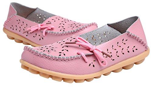 WENN FÜHLEN Frauen Flats Leder Driving Loafer Schuhe Rosa-3