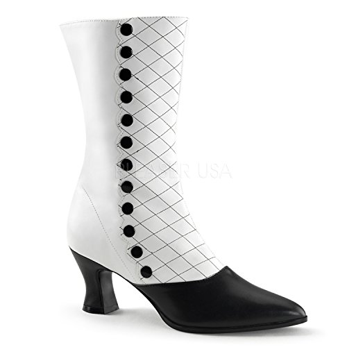 Pleaser VIC-123 (7, White/Black) Victorian Boot Buttons & (Victorian Button Boots)