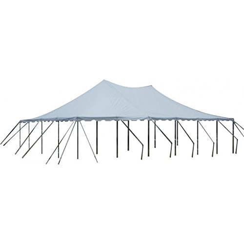 White Party Tent, 40 ft x 60 ft, Heavy Duty 3-piece Vinyl Sectional Canopy Pole Tent - Free Shipping
