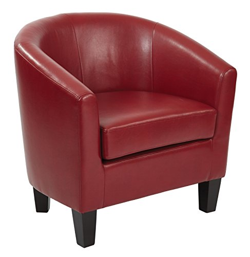 AVE SIX Ethan Tub Chair in Deluxe Cranberry Vinyl Fabric