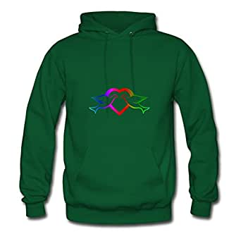 Mabelbennett Green X-large Creative Doves N Love Hoody For Women