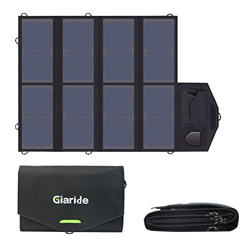 GIARIDE 18V 40W Foldable Solar Charger 5V USB + 18V DC Sunpower Portable Solar Panel outdoor Laptop Charger for Tablet, Laptop, iPhone, ipad, Galaxy, Android, Camping, Fishing, Hiking by GIARIDE