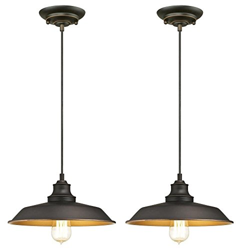 Westinghouse 6344700 Iron Hill One-Light Indoor Pendant, Oil Rubbed Bronze Finish with Highlights Industrial Iron Hill One-Light Indoor Pendant - 2 Pack