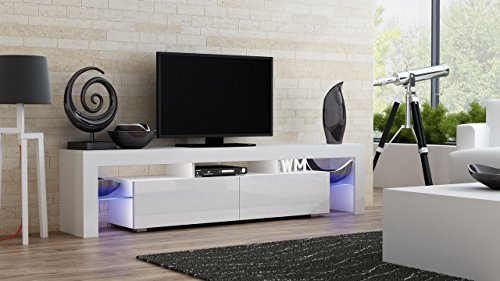 TV Stand MILANO 200 / Modern LED TV Cabinet / Living Room Furniture / Tv Cabinet fit for up to 90-inch TV screens / High Capacity Tv Console for Modern Living Room (White & White)