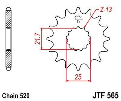 JT frontal pi/ñ/ón jtf565/15/dientes para Kawasaki 650/vulcan-s ABS 15
