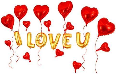 Bestoyard ハート風船 loveアルミバルーン I LOVE U ウェディングバルーン セット 結婚式 飾り付け 10インチ 16インチ 18インチ 20点セット