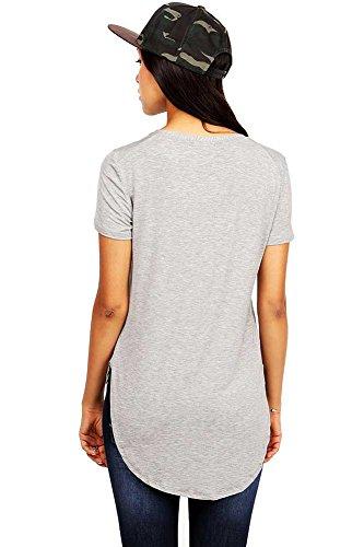 Emma's Closet Women's Oversize Stretchy V-Neck Tee (Medium, Heather Grey) (V-neck Womens T-shirt Puppy)