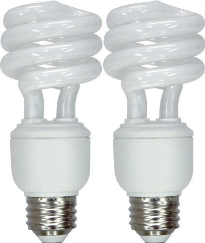 GE Lighting 67445 Energy Smart Spiral CFL 14-Watt (60-watt replacement) 950-Lumen T3 Spiral Light Bulb with Medium Base, 2-Pack ()