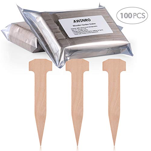 100 Pcs 4.8 Inches Wooden Garden Stakes, Anchors Sturdy Garden Stakes for Holding Down The Tents, Garden Netting, Rain Tarps and Landscape Fabric Lawn Edging and Weed Cover