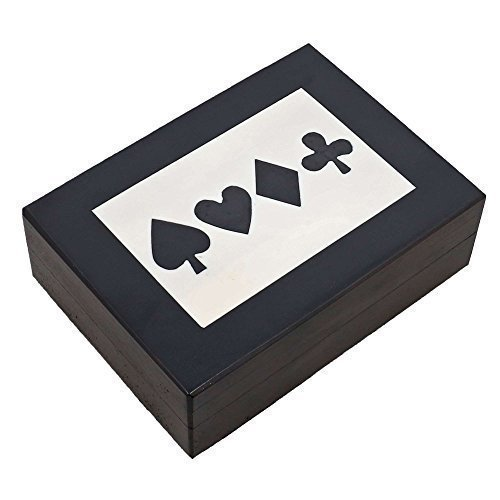 Black And White Storage Box For Playing Cards With Decoration of Club Diamond Heart Spade