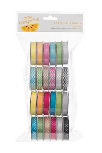 American Crafts 58817 Amy Tangerine Grosgrain Ribbon by | 24 pack, various printed and woven - American Ribbon