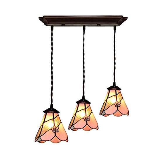 Tiffany Style Chandelier Three-Dimensional Petals 3-Light Tceiling Pendant Light Kit Stained Glass Shade Metal Lamp Body Restaurant Bar Cafe (Color : A)