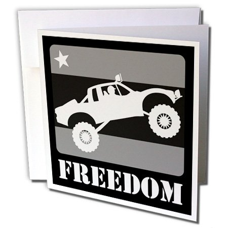 3dRose Mark Grace FREEDOM - off road sports - Black and white image of a pre-runner race truck taking flight DUDE - 1 Greeting Card with envelope (gc_181191_5)