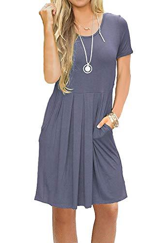 AUSELILY Women#039s Short Sleeve Pockets Pleated Loose Swing TShirt Dress Purple Gray L