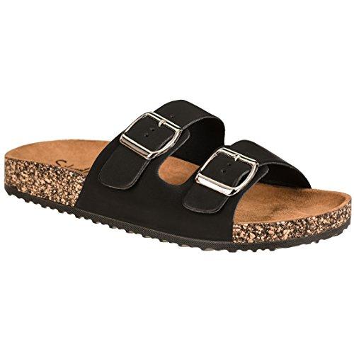 (CLOVERLY Comfort Low Easy Slip On Sandal - Casual Cork Footbed Platform Sandal Flat - Trendy Open Toe Slide Sandal Shoes (11 M US,)