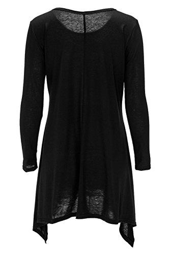 Noir Robe Ru Voyage Coton Casual Xiang Manche Femme Rond Col shirt Mi longue Pull Longue Chemise T 1wCxEqaE