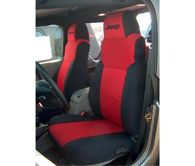 Coverking Front 50/50 Bucket Custom Fit Seat Cover for Select Jeep Wrangler Models - Neoprene (Red with Black Sides)