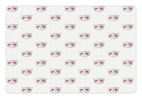 Ambesonne Emoji Pet Mat for Food and Water, Cat Faces with Pink Heart Shaped Eyes Romantic Animal Kitty Mascot in Love, Rectangle Non-Slip Rubber Mat for Dogs and Cats, Pale Grey Pink White