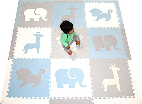 SoftTiles Foam Play Mat- Safari Animals- Interlocking Foam Puzzle Mat for Kids, Toddlers, Babies Playrooms/Nursery- Size 6.5 x 6.5 ft.- (Light Blue, Light Gray, White) SCSAFWSH ()