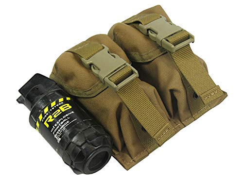 (MOLLE Tactical Pouch Double Under Two Grenades. Model (Coyote Brown))