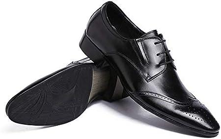 Zapatos para Hombre Negocios En Punta Zapato con Cordones Zapatos Impermeables Ocasionales Botas Cuero Auténtico Zapato Brogue Smoking Formal La Oficina Plana Bota para Caminar Al Aire Libre,Negro,42