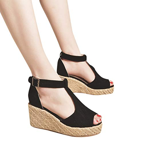 8f48851b2d2 Gyouanime Womens Platform Sandals Shoes High Heel Wedge Buckle Strap High  Heel Platform Sandals Beach Shoes