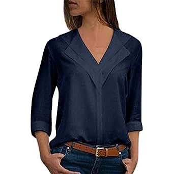 Blusa Gasa Mujer Verano, Forme a Mujeres la Camiseta sólida de la Gasa de la Oficina de Las señoras Plain Roll Sleeve Blusa Tops(S,Armada)