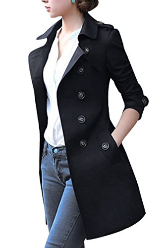 Mogra Womens Fashion Double Breasted Pocket Outwear Trench Jacket Coat with Belt
