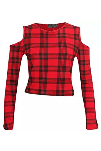 COLD PRINTED BELLY TOP TOPS LADIES SHOULDER 8 CROP TOP DANCE PARTY 14 RED TARTAN CUT WOMENS OFF xqwXd14q