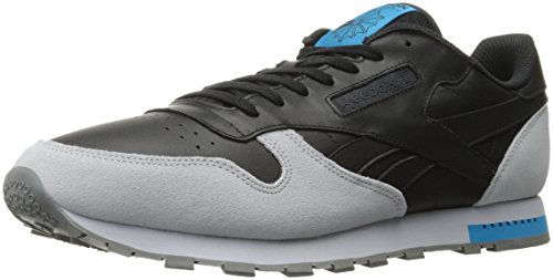 Reebok Men CL Leather Grey Fashion Sneaker Black/Cloud Grey/Alloy/Caribbean Teal