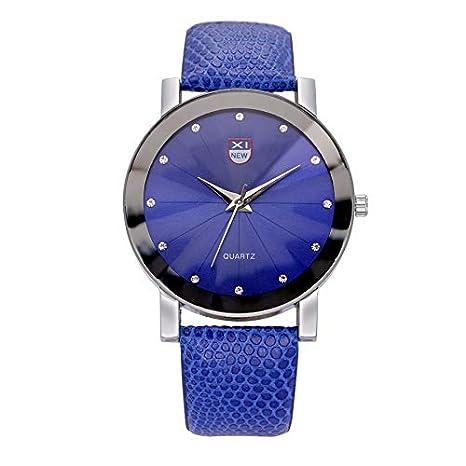 JiaMeng Cristal Rhinestone de Lujo de Cuarzo de Acero Inoxidable de Cuero Militar Banda de Cuero Reloj de Pulsera Pare Hombres (Azul): Amazon.es: Ropa y ...