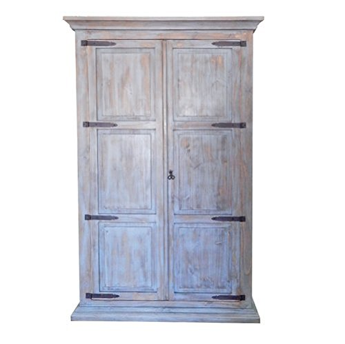 Mexican Pine Armoire (Antique Gray Solid Wood Hideaway Murphy Twin Bed)