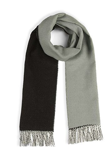 Mist Wool Scarf - Alpaca Wool Scarf - 100% Pure Baby Alpaca - Double Sided Reversible Contrast Scarf (Mist/Charcoal)