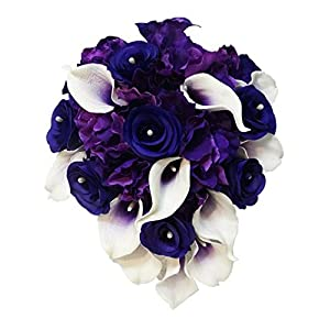 Sweet Home Deco Real Touch Calla Lily Wedding Bride Bouquet/Boutonniere/Corsage Artifiial Flower Wedding Flower Package (Purple-Cascading/Calla Lilies/Rose/Hydrangeas) 59