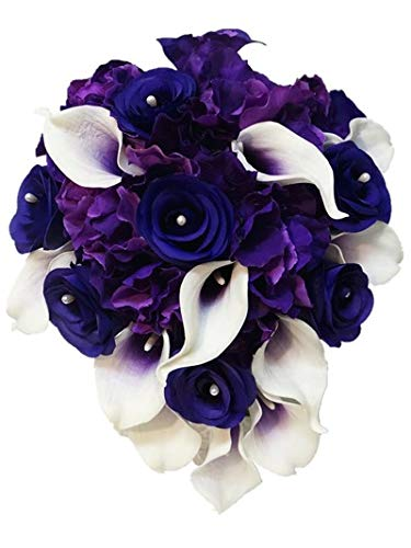 Sweet Home Deco Real Touch Calla Lily Wedding Bride Bouquet/Boutonniere/Corsage Artifiial Flower Wedding Flower Package (Purple-Cascading/Calla Lilies/Rose/Hydrangeas)