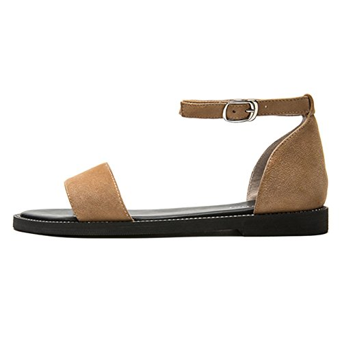 Verano Qidi Tacón Individuales 5 Caucho sandalias Materiales Mujer Zapatos Amarillo color Negro Negro Bajo Eu36 Tamaño Temporada uk3 De XqrXpAn