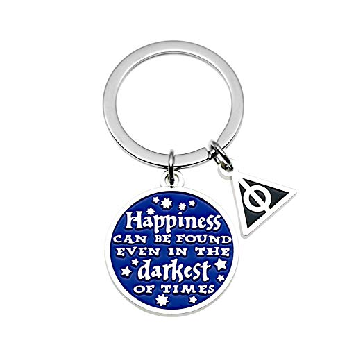 (Ms. Clover Inspirational Gifts Happiness Can Be Found Even in The Darkest of Times Keyring, Hand Stamped Charm Keychain Recovery Gifts for Teens Woman.)