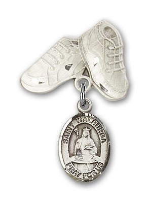 Sterling Silver Baby Badge with St. Walburga Charm and Baby Boots Pin