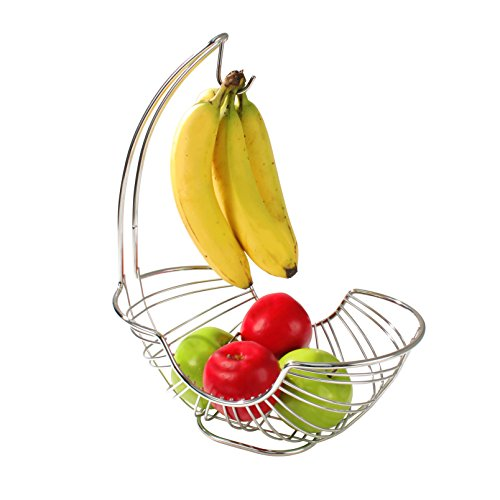Large Product Image of Spectrum Diversified Pantry Works Ellipse Fruit Stand and Banana Holder, Chrome