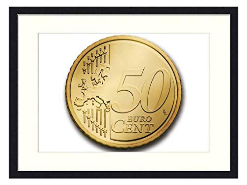 Wall Art Print Solid Wood Framed for Home Decor and Office (20x14 inches)-Cent 50 Euro Coin Currency Europe Money Wealth (Euro 50 Cent Coin)