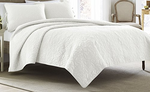 Laura Ashley Felicity Quilt Set, White, Twin - Cottage Style Bedding