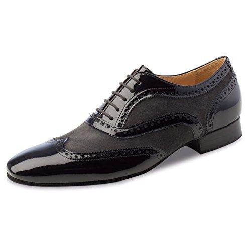 Nueva Epoca–Hombre Tango/Salsa Zapatos de baile Domingo–Lacado/Ante Negro/Gris, negro / gris, UK 9 | EUR 44