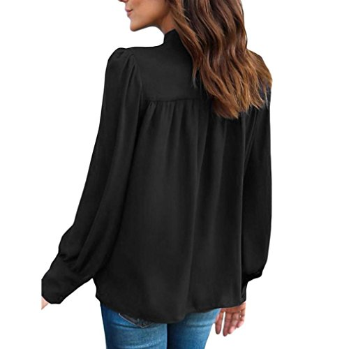 Femme Manches Casual Col Chemisiers Blouses Couture Solike Shirts Sexy T Chiffon Longues Noir Tops Femme Solide Tops Tunique Rond 4yqgf5B