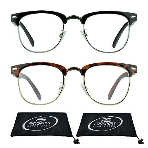 Plastic Half Frame - Multifocal Progressive Computer Reading Glasses No Line with Horn Rimmed Plastic and Metal Half Frame for Men & Women